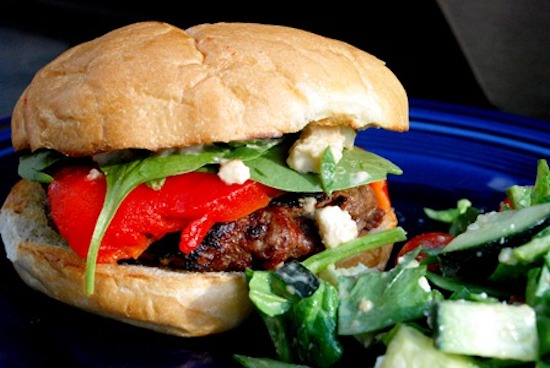 roasted peppers on burger | ideas for burger toppings | burger toppings